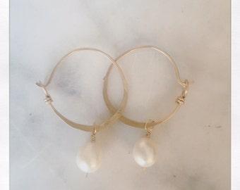 G O L D hoop with white pearl