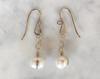B A N D E D pearl earrings