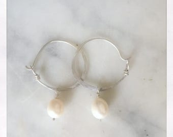 S I L V E R hoops with white pearl