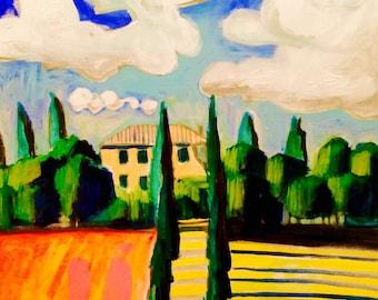 Italian Landscape 24 x 36 x .75 original landscape painting, acrylic painting, acrylic on stretched canvas