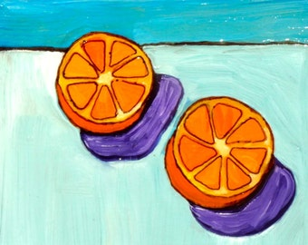 Oranges, still life painting, 6 x 6 original painting of fruit, painting of an orange, oil painting, abstract  painting, fruit painting, art