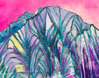 Purple Mount Sopris in Carbondale,Colorado,  a Landscape Painting, 17 x 23.5 original painting, acrylic painting, plein air