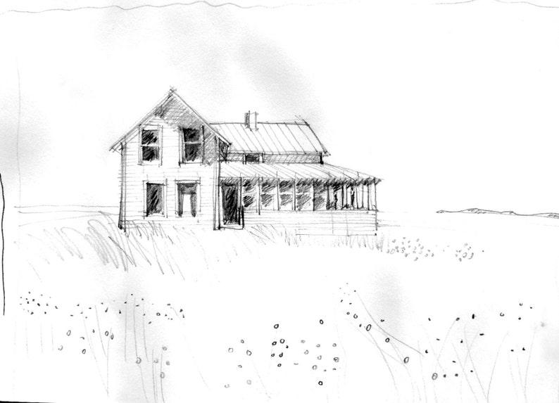 Dessin au crayon de maison croquis dessin original dessin | Etsy