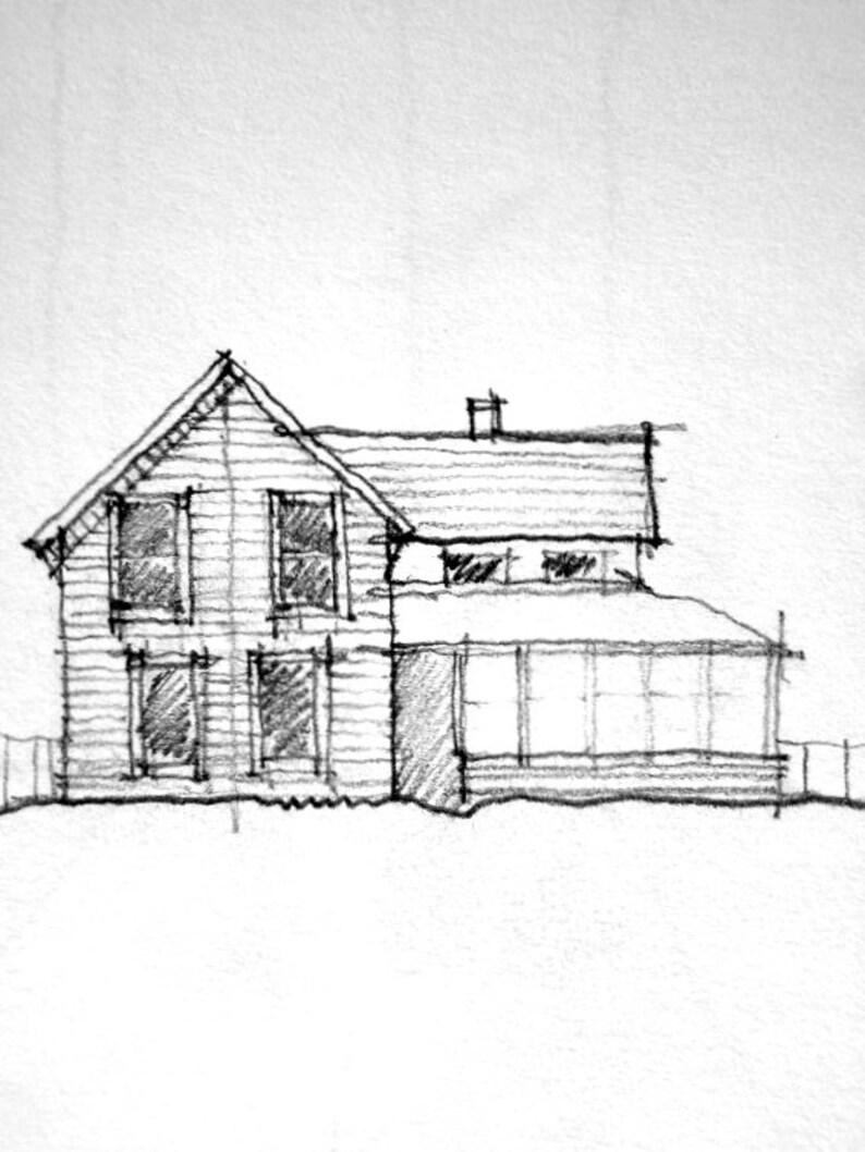 Pencil drawing of house sketch original drawing original pencil drawing