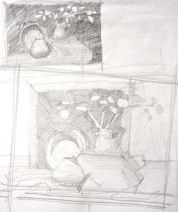 Bleistiftzeichnung Von Stillleben Blumen Stillleben Skizze Etsy