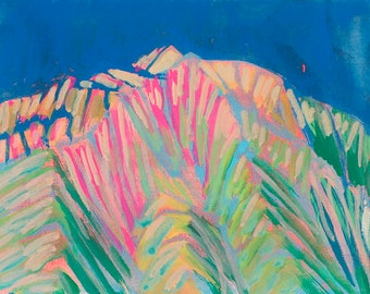 Mount Sopris in Carbondale,Colorado,  a Landscape Painting, 8 x 10 original painting, acrylic painting, plein air, gallery wrapped canvas