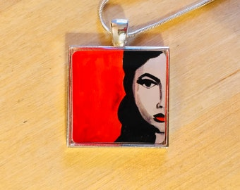 Face Pendant Necklace, Face Art, Wearable Art Jewelry, One of a Kind, free shipping USA