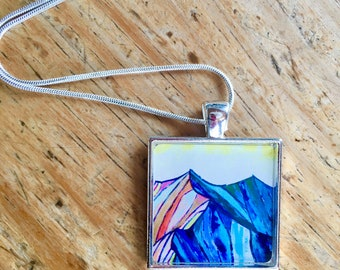 Mountain Pendant Necklace, Colorado Mountain Art, Wearable Art Jewelry, One of a Kind, free shipping USa