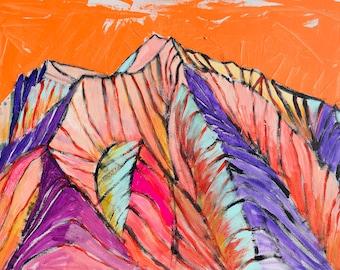 Mount Sopris in Orange at Carbondale,Colorado,  a Landscape Painting, 18 x 24 original painting, acrylic painting, mountain landscape