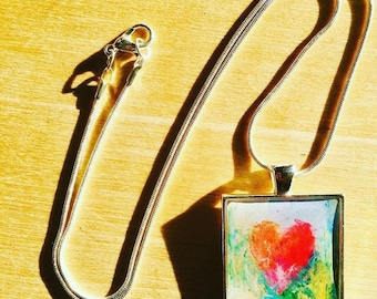 Heart Pendant Necklace, Heart Art, Wearable Art Jewelry, One of a Kind, free shipping USA