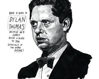 Dylan Thomas poster print Great Welsh Poet Literary Print