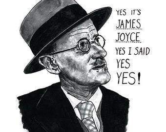 James Joyce Ulysses portrait poster print - Great Irish Writer - Literary Print