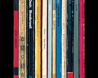 Oasis '(What's The Story) Morning Glory?' Album As Books, Oasis Poster Print, Literary Music Print, Penguin Books Poster, Wall Art