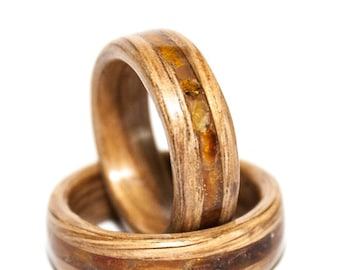 Bentwood ring with amber inlay