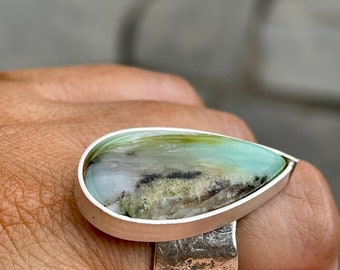 Blue Peruvian Opal Custom Made Artisan Rings