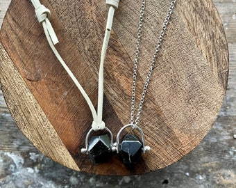 Black Tourmaline Crystal Pendant Necklace - October Birthstone Necklace and Pendant - Travel Protection Stone - Tourmaline Pendant