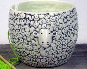 Yarn bowl sheep Pottery Ceramic Knitting or crochet bowl Knitter gift Ready to ship