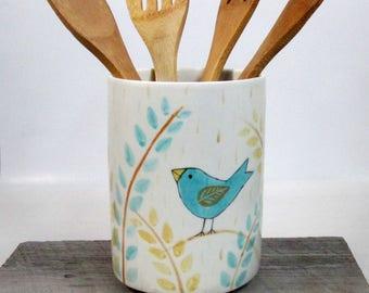 Utensil holder Vase Ceramic Pottery  Hand painted  Wedding Gift Hotess Gift Ready to ship