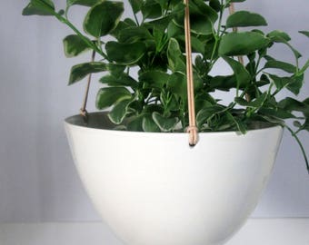 Large Hanging  Planter White Ceramic pottery  Hotess gift Mother'sDay Wedding gift Ready to ship