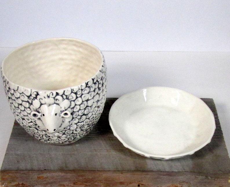 Medium Sheep planter with overflow saucer Vase Planter image 4