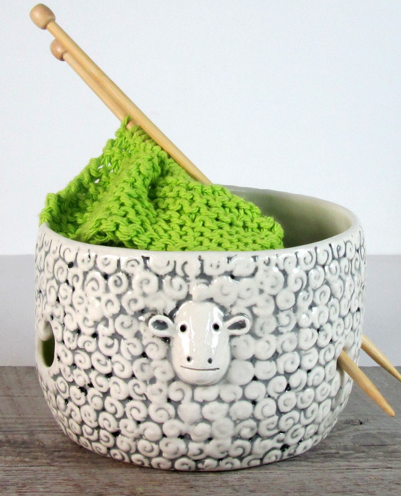 Sheep Knitting  Bowl Yarn bowl  Pottery Ceramic Knitting or image 6