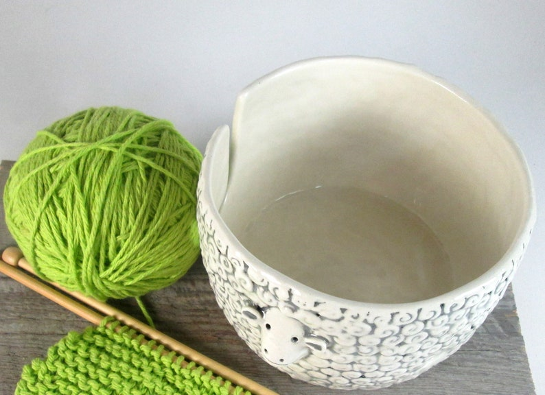 Sheep Knitting  Bowl Yarn bowl  Pottery Ceramic Knitting or image 4
