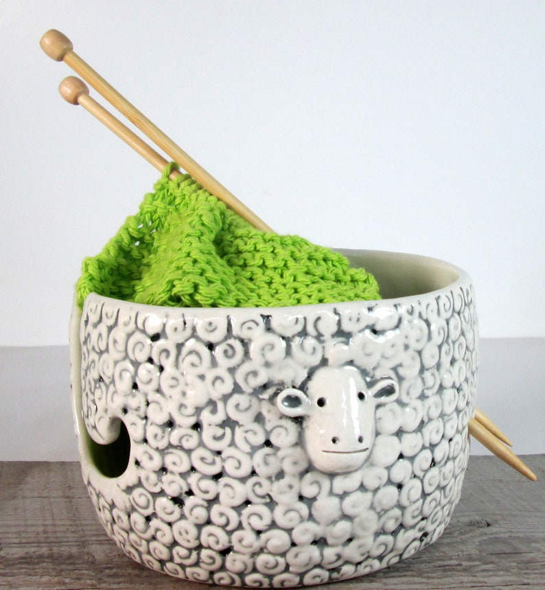 Sheep Knitting  Bowl Yarn bowl  Pottery Ceramic Knitting or image 0