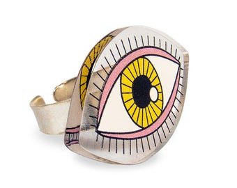 Eye Ring - Weird Yellow Pink Kawaii Colorful Pop Transparent Perspex Laser Cut Kitschy Kitsch Rad Edgy Silver Adjustable