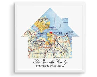 Map Personalized Housewarming Gifts, Personalized Home Map, First Home Gift for Couple, Home Sweet Home, Our First Home, House Map, New Home