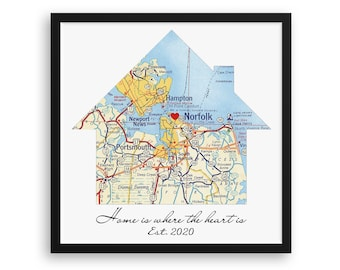 New Home Housewarming Gift, Personalized Map, Realtor First Home Gift, Latitude Longitude, New Homeowner, Realtor Closing Gift