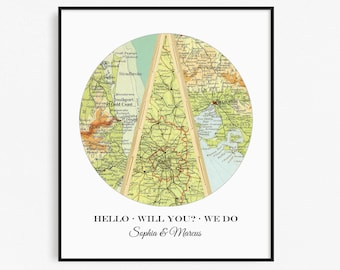 Personalized Map, Bridal Shower Gift, Custom Wedding Gift, Map Art, Met Engaged Married, Unique Gift for Couples, Anniversary Gift Map Print