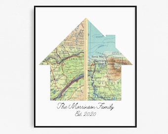 New Home Housewarming Gift, Personalized Map, Realtor First Home Gift, Home Map Moving Gift, Realtor Closing Gift 2 Cities House Map Print