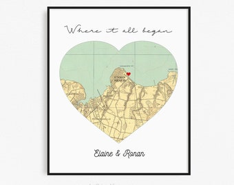 Map Personalized Engagement Gift for Couple, Map Engagement Print, Where it all Began, Engagement location, Unique Engagement Party Gifts