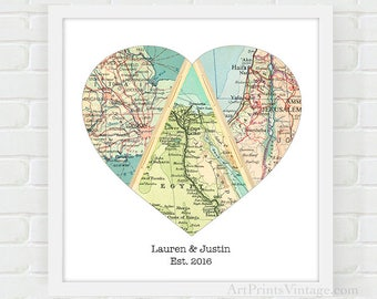 3 Personalized Map Heart Newlywed Gift Romantic Gift, Wedding Gift for Couple, Heart Map Engagement Gift, Map Art, Custom Map Art Print