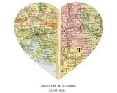 Personalized Map Art, Custom Wedding Gift, Anniversary Gift, Engagement, Heart Map Print, Valentines Gift, Custom Map - Worldwide Locations
