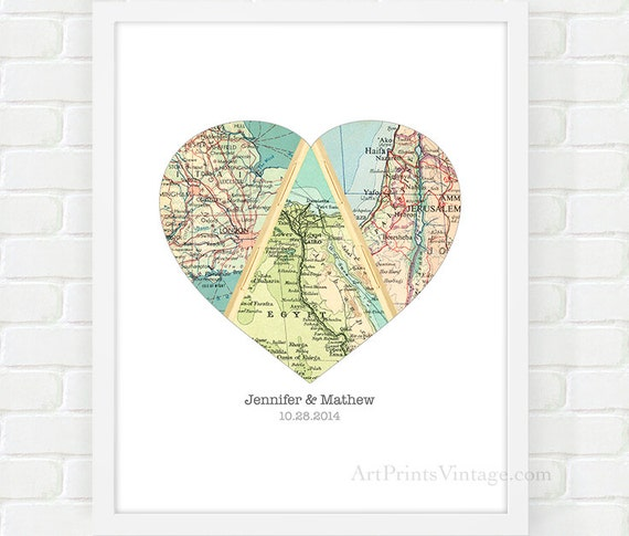 Map Heart Art Unique Wedding Gift For Couple Heart Map Etsy