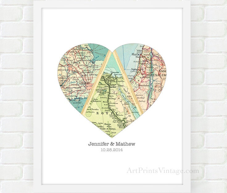 Map Heart Art, Unique Wedding Gift for Couple, Heart Map Print, Engagement, Newlywed Gift, Personalized Map Art, Paper Anniversary Gift