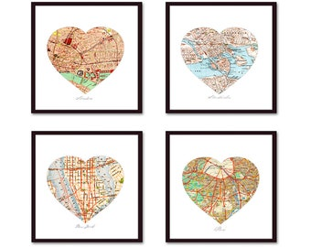 Heart Map Art Anniversary Gift for parents, Personalized Map First Anniversary Gift, Wedding Anniversary, Paper Anniversary Map Decor