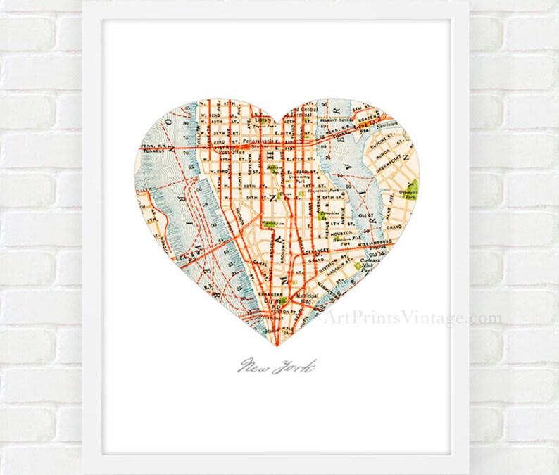 New York City Map Map Heart Print Manhattan Map Nyc Wall Etsy