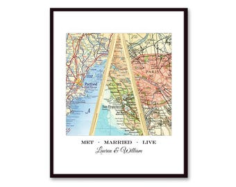 Love Story Map Art, Personalized Wedding Gift for Couple, Anniversary Gift, Met Married Live Personalized Gift, Custom Wedding Map, 3 Cities
