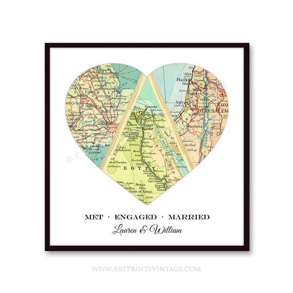 Unique Wedding Gift For Couple Engagement Personalized Map Etsy