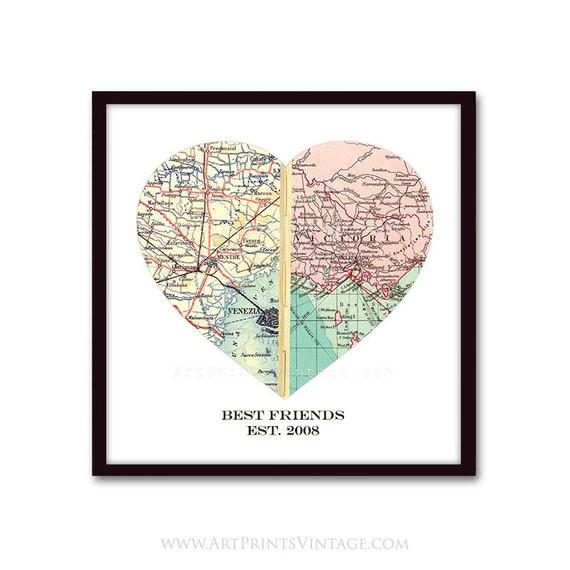 Map Heart Art Long Distance Friendship Best Friend Gift