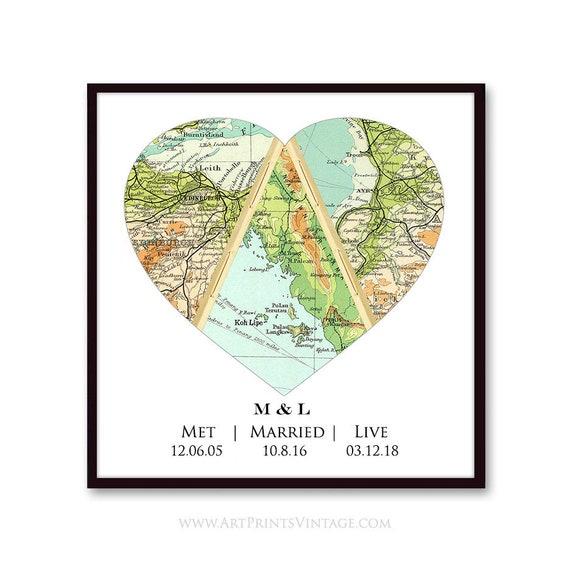 Met Married Live - Heart Map Custom Map Art Personalized Wedding Gift Love  Story Map Newlywed Gift Wedding Anniversary Gift Art Print