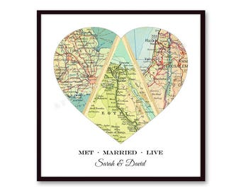 3 Personalized Map Heart Art, Wedding Gift for Couple, Newlywed Gift, Anniversary Gift, Engagement, Met Engaged Married 3 Map Heart Print