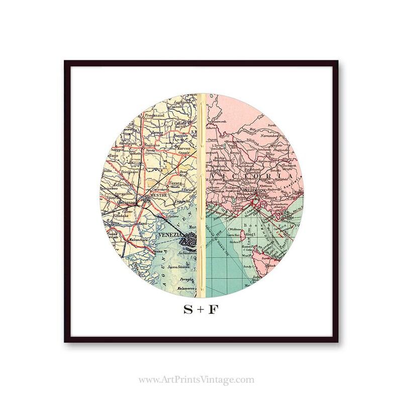 Long Distance Relationship Gift Map Art Boyfriend Gift Etsy