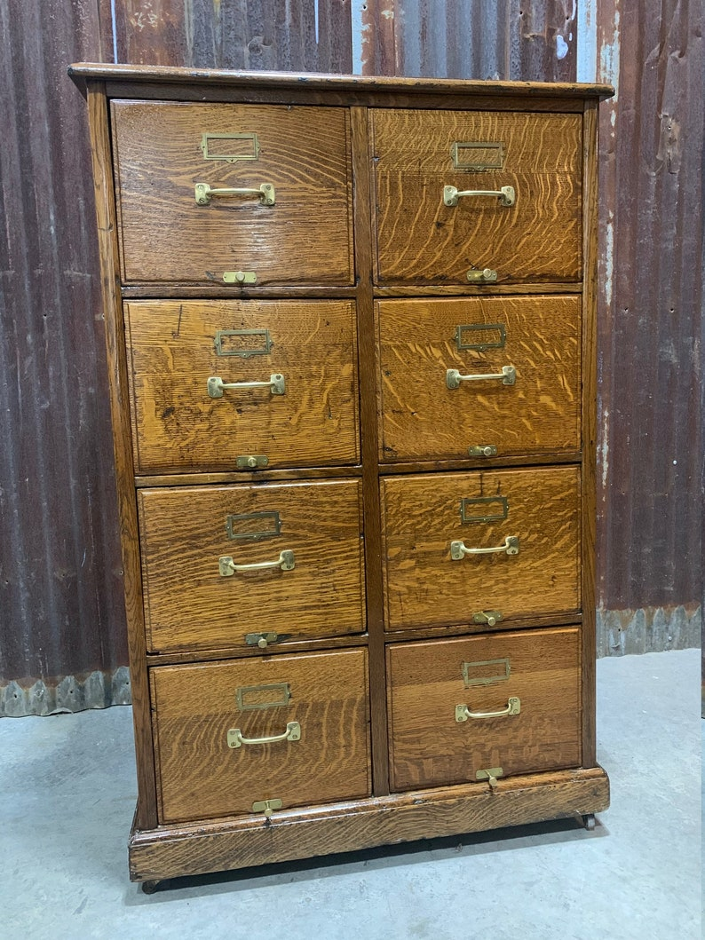 Delicieux Antique Solid Oak Mission Style Filing Cabinet 8 Drawer Home Office  Furniture Storage