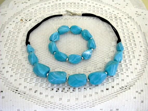 Chunky Blue Panel Bracelet and Necklace Set Selini Style Silver Panel Bracelet and Necklace Blue Lucite Panel Necklace and Bracelet Set