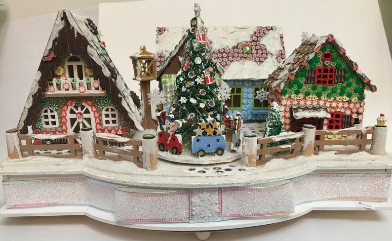 Polymer Clay Christmas Village.Faux Gingerbread Village Music Box With Polymer Clay Candies