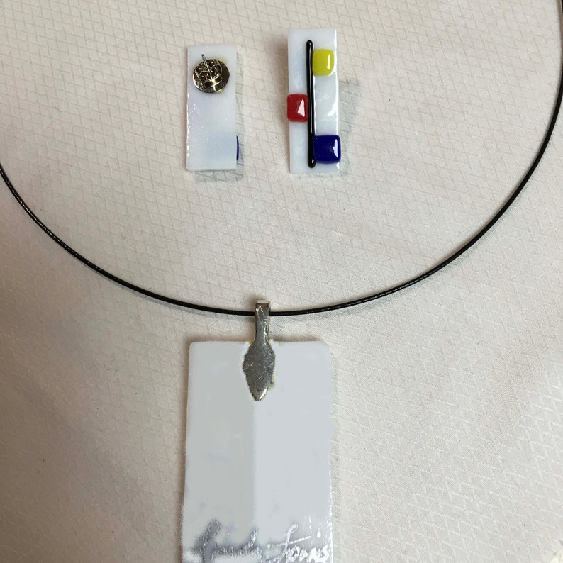 Fused Glass Pendant and Post Ear Rings