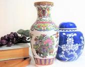 Chinese FAMILLE ROSE Porcelain Vase, Vintage Chinoiserie 8 3 8 quot Tall Flower Vase Da Qing Qianlong Nian Zhi Mark, Macau Style
